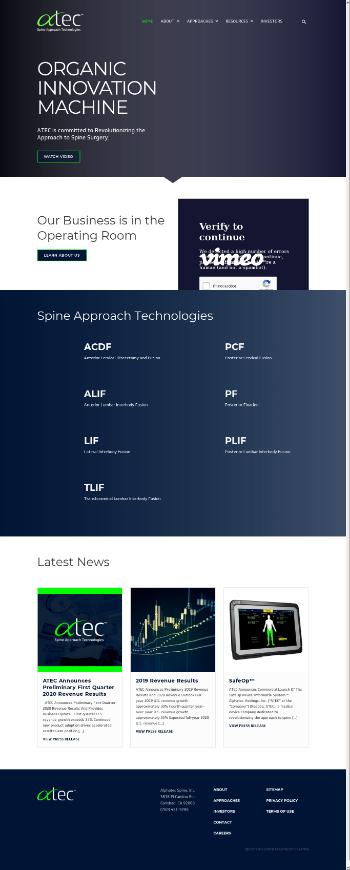 Alphatec Holdings, Inc. Website Screenshot