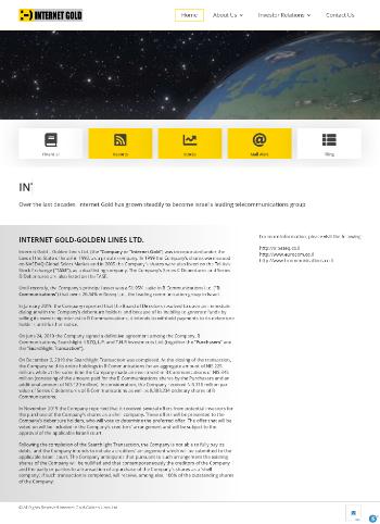Internet Gold - Golden Lines Ltd. Website Screenshot