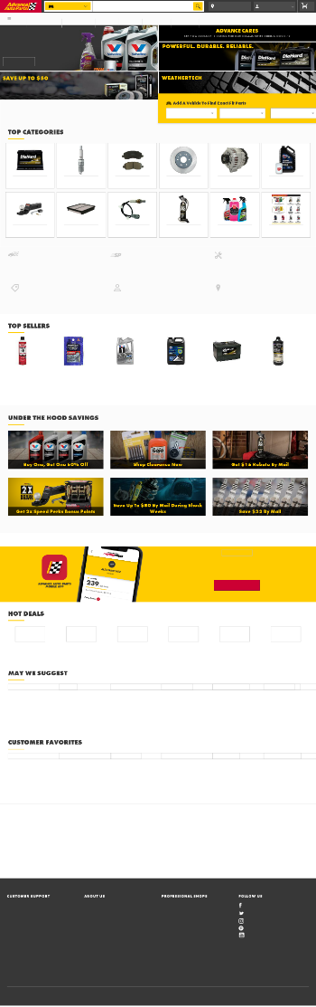 Advance Auto Parts, Inc. Website Screenshot