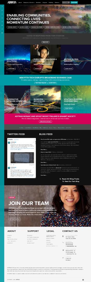 ADTRAN, Inc. Website Screenshot