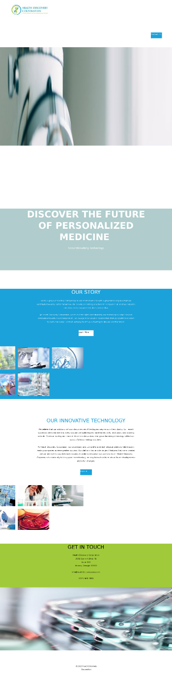 Health Discovery Corporation Website Screenshot