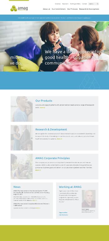AMAG Pharmaceuticals, Inc. Website Screenshot