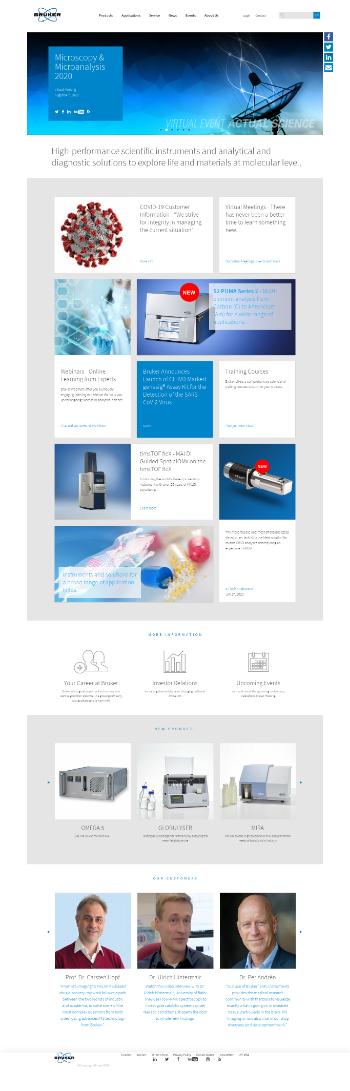 Bruker Corporation Website Screenshot