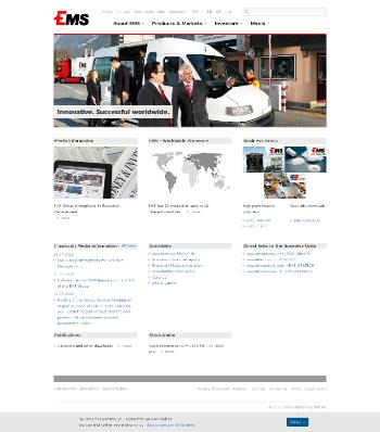 EMS-CHEMIE HOLDING AG Website Screenshot
