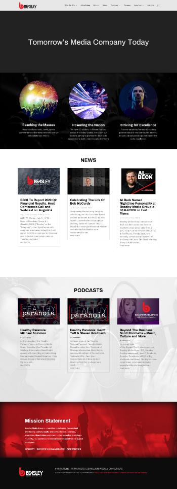 Beasley Broadcast Grp.  Website Screenshot