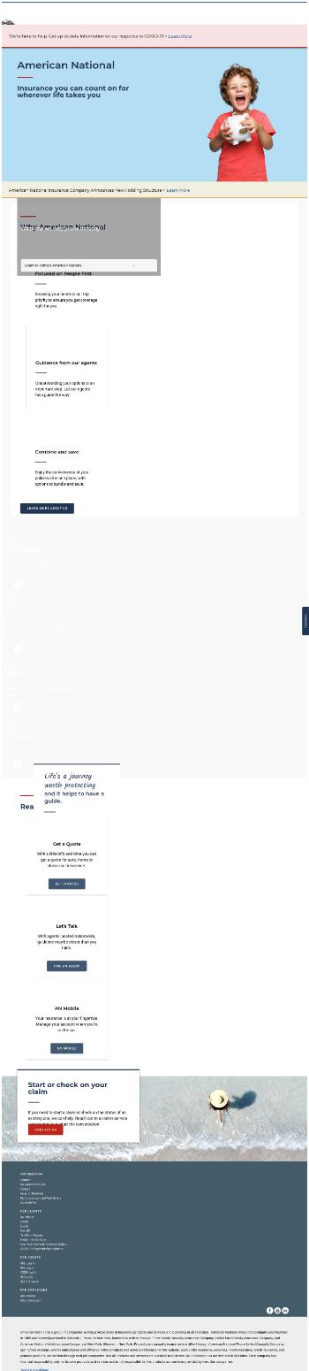 American National Insurance Company Website Screenshot