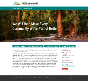 Sierra Bancorp Website Screenshot