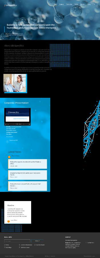 BioSpecifics Technologies Corp. Website Screenshot