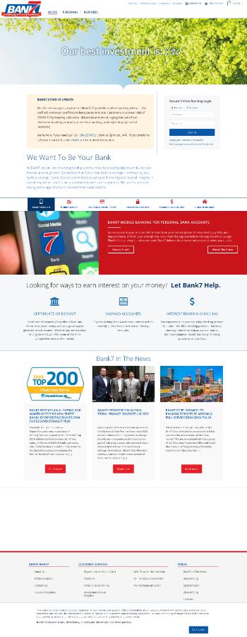 Bank7 Corp. Website Screenshot