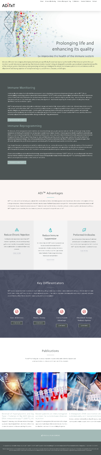 ADiTx Therapeutics, Inc. Website Screenshot