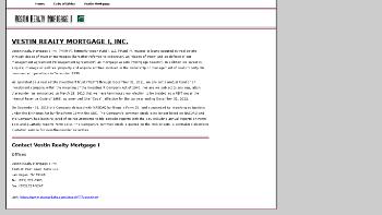 Vestin Realty Mortgage I, Inc Website Screenshot