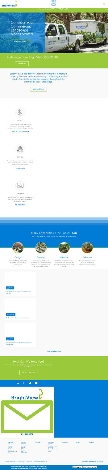 BrightView Holdings, Inc. Website Screenshot