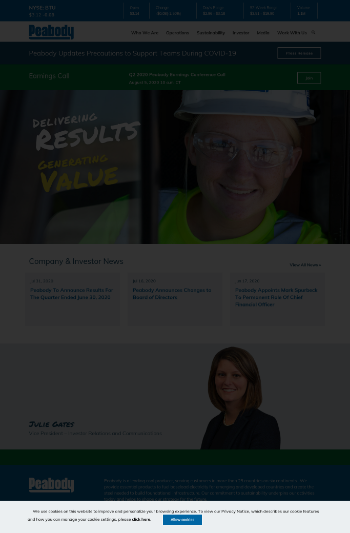 Peabody Energy Corporation Website Screenshot