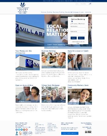 Village Bank and Trust Financial Corp. Website Screenshot