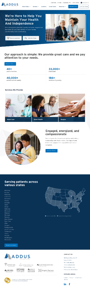 Addus HomeCare Corporation Website Screenshot