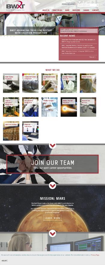 BWX Technologies, Inc. Website Screenshot