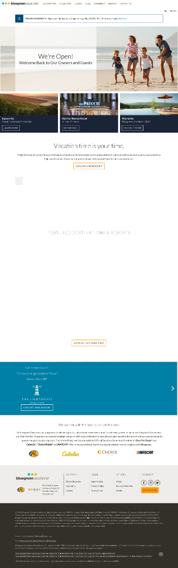 Bluegreen Vacations Corporation Website Screenshot