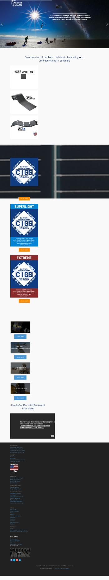 Ascent Solar Technologies, Inc. Website Screenshot