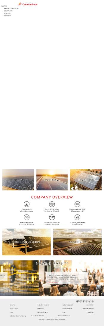 Canadian Solar Inc. - Common Shares Website Screenshot