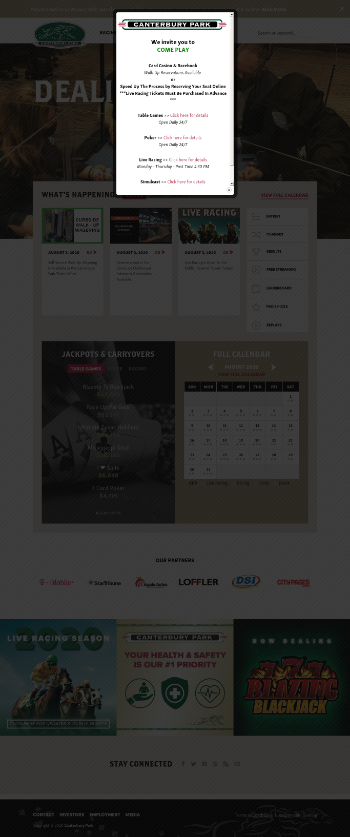 Canterbury Park Holding Corporation Website Screenshot