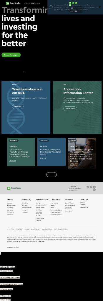 TD Ameritrade Holding Corporation Website Screenshot