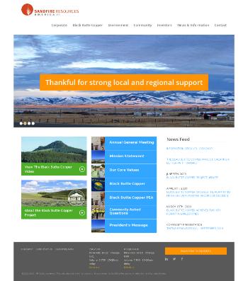 Sandfire Resources America Inc. Website Screenshot
