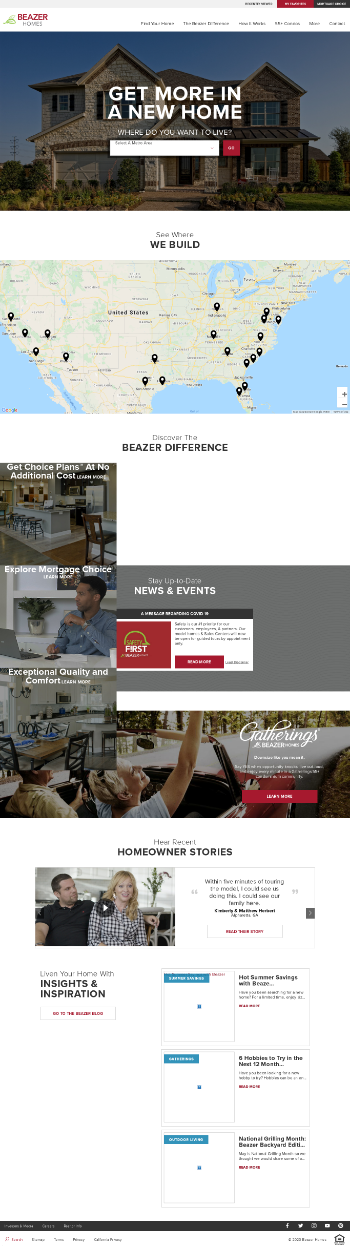 Beazer Homes USA, Inc. Website Screenshot