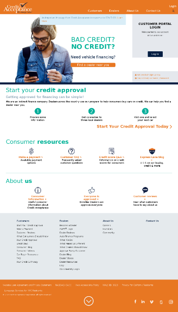 Credit Acceptance Corporation Website Screenshot
