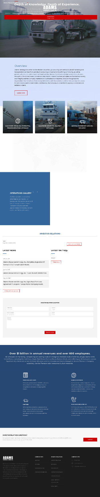 Adams Resources & Energy, Inc. Website Screenshot