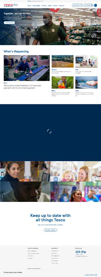 Tesco PLC Website Screenshot