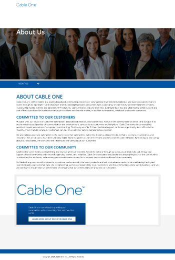Cable One, Inc. Website Screenshot