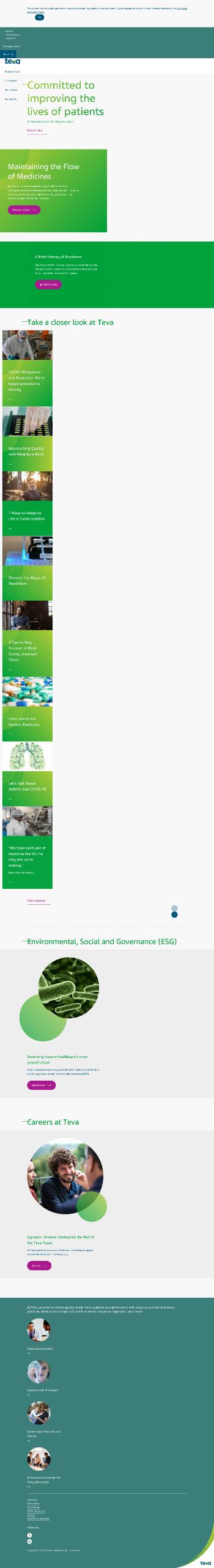 Teva Pharmaceutical Industries Limited Website Screenshot