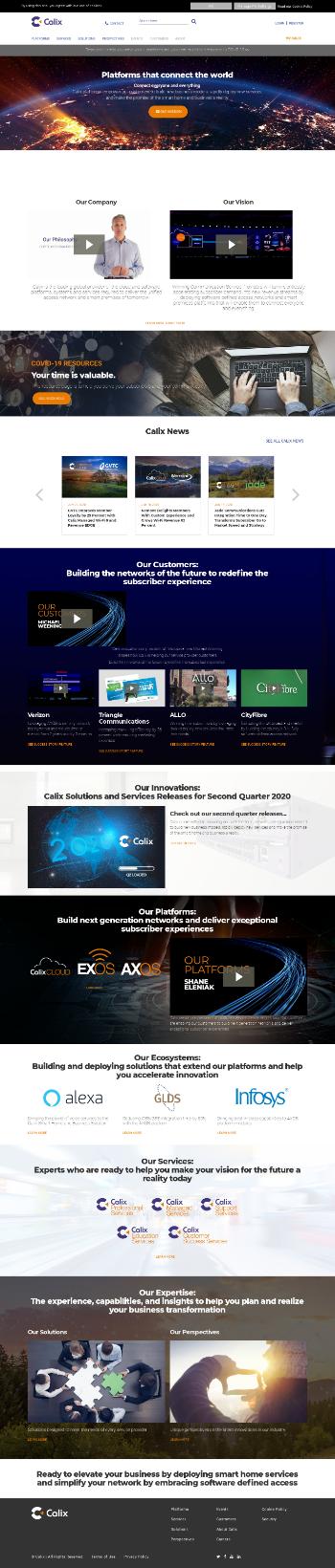 Calix, Inc. Website Screenshot