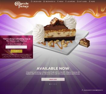 The Cheesecake Factory Incorporated Website Screenshot